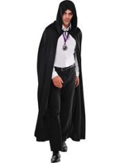 Hooded Black Cape Adult