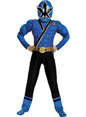 Power Rangers Samurai Blue Ranger Muscle Costume Boys