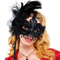 Black Magic Feather Mask with Handle Adult