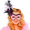 Pink Flirty Feather Mask Adult